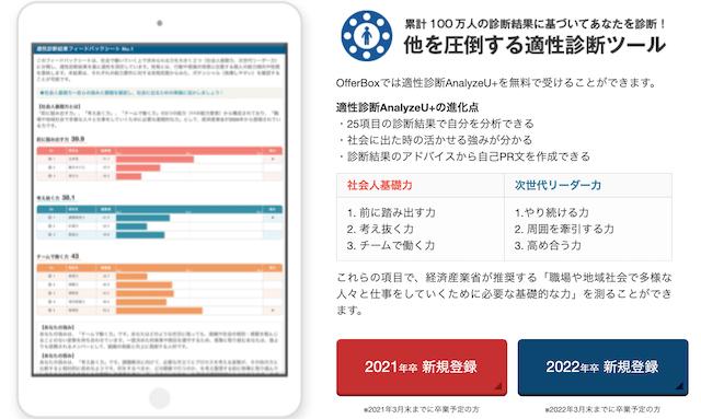 自己分析診断ツール/アプリ「OfferBoxのAnalyzeU+」