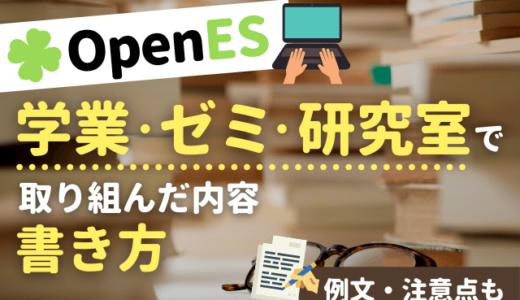 【内定者が教える】OpenES「学業、ゼミ、研究室などで取り組んだ内容」の書き方 | 例文,注意点も